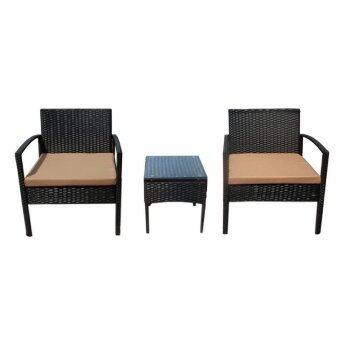 TSF ชุดโต๊ะน้ำชาหวายเทียม 2 ที่นั่ง+โต๊ะข้าง รุ่น CHARLOTTE (สีดำ/ครีม)