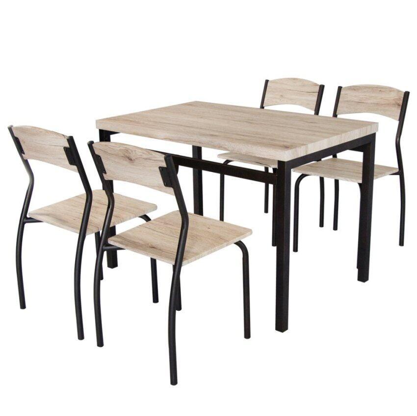 สินค้าแนะนำU-RO DECOR ชุดโต๊ะรับประทานอาหาร โต๊ะ 1 ตัว+เก้าอี้ 4 ตัว รุ่นSONOMA ( สีซานรีโม่/ขาสีน้ำตาลเข้ม ) ไม่แพง