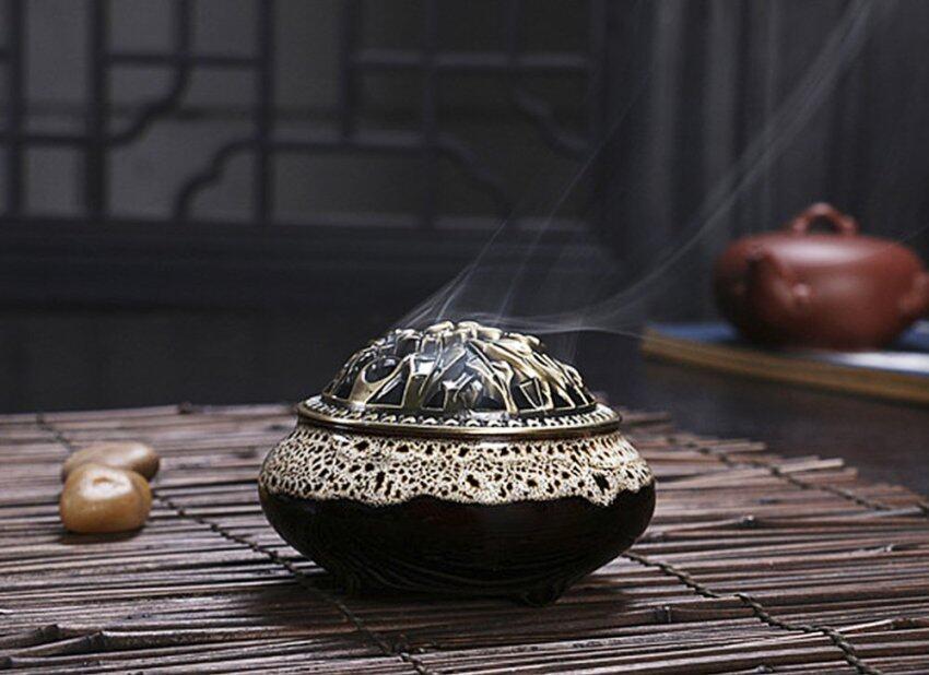 Vintage Exquisite Ceramic Carved Incense Burner Holder Home Decor Gift Fit for Cone Stic ...