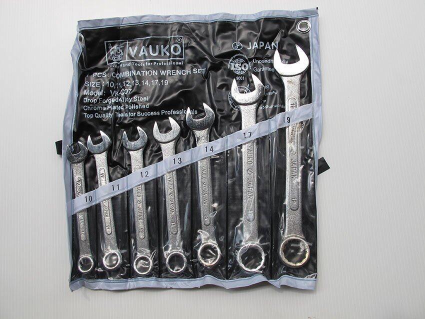 WORK : VAUKO COMBINATION WRENCH ชุดประแจแหวนข้างปากตายข้าง 7 ตัวชุด จากประเทศญี่ปุ่น ISO9001 ขนาด 10-19 มม รุ่น VK-07