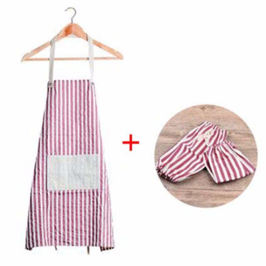 XKP Anti-oil kitchen waterproof apron Pure cotton simple apron Apron sleeves set - intl