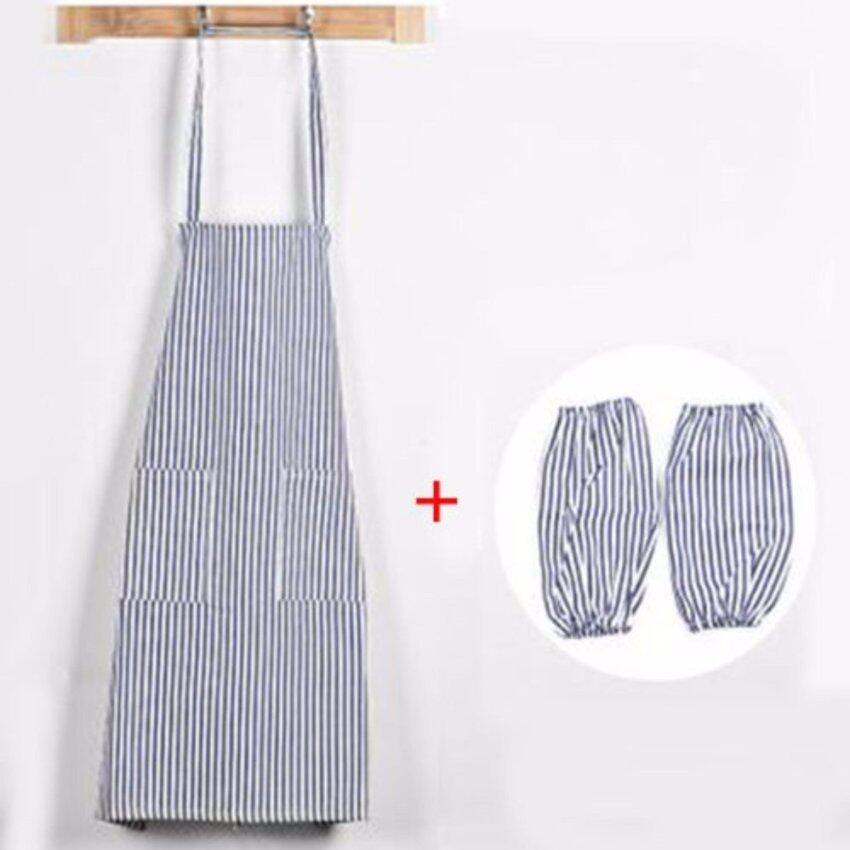 XKP Anti-oil kitchen waterproof apron Pure cotton simple apron Apron sleeves set - intl
