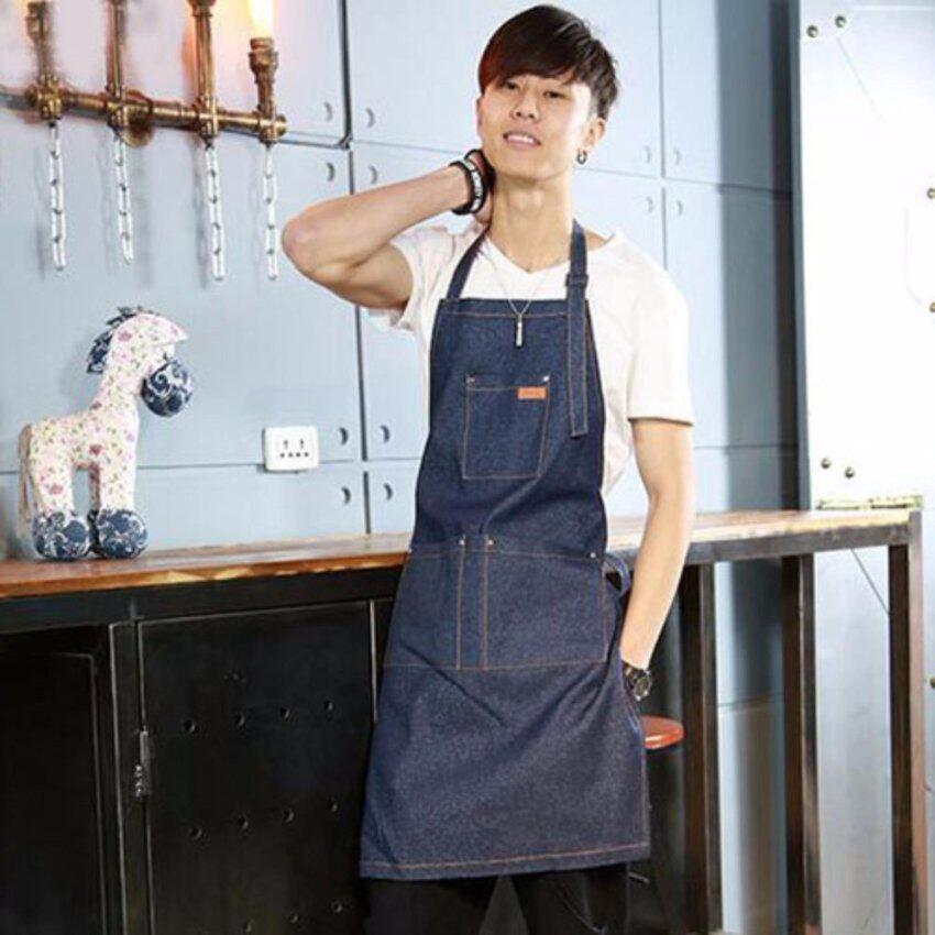 XKP Denim apron Adult home kitchen women and men Korean fashion work clothes - intl