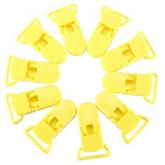 10pcs Pacifier Clips Soother Dummy Bib Suspender Paci Toy Holder (yellow) ถูกๆ