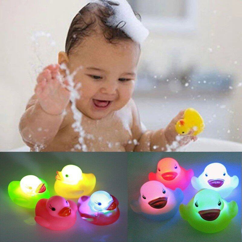 4 pcs Newest Toy Duck Baby Bath Toy Light Vinyl Toy Teether Auto Color Changing LED Lamp - intl