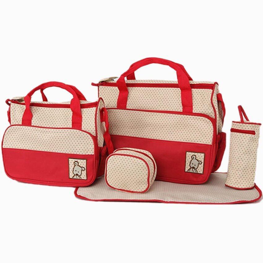 5PCS Practical Mummy Baby Diaper Bag Baby Changing Mat Multifunctional Set Red
