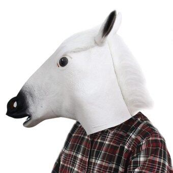 Artificial Halloween Latex Horse Head Mask Masquerade Partiescosplay Gadget White White - intl