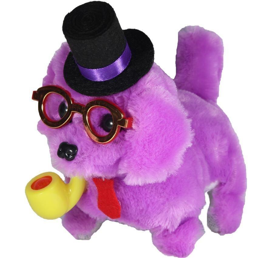 ตุ๊กตา ตุ๊กตาสุนัขคาบไปร์ท เดินเห่า สีม่วง B116-5