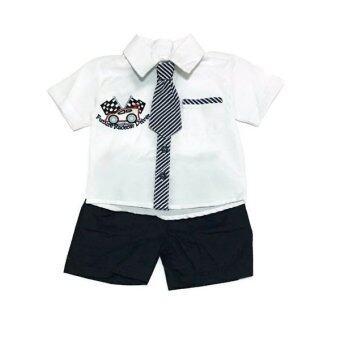 ฺBaby เซ็ทเสื้อผ้าเด็กชาย 3ชิ้น ( เสื้อเชิ๊ต+เนคไท+กางเกง ) สีขาวเนคไท