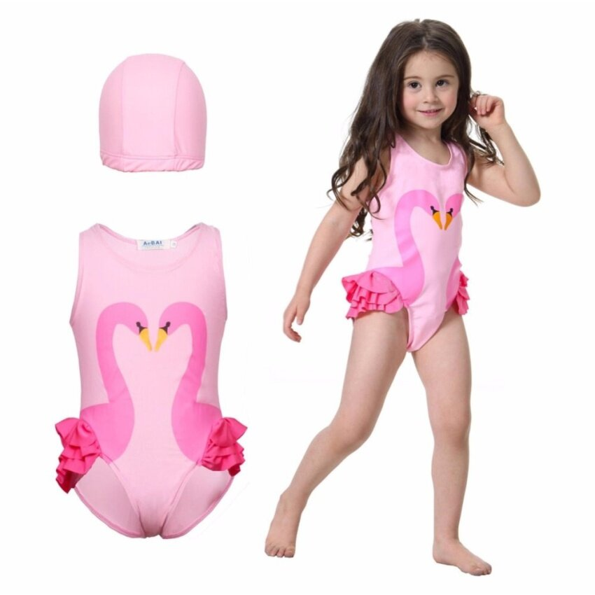 Baby Girl Swimsuit & Swimming Cap Set One-Piece Kids Swimwear Summer Swimming Bikini Toddler Infant Girls Beachwear INS Flamingo Swan Print - intl