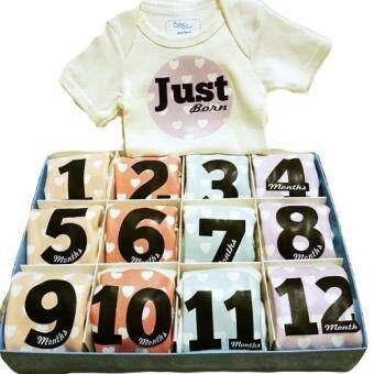 Baby Mamy Monthly Set เซตบอดี้สูท 12 เดือน แรกเกิด - 1 ปี ลาย Heart