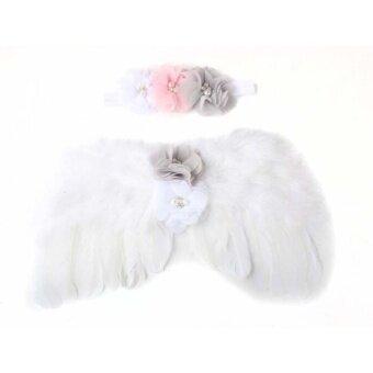 Baby Newborn Toddler Angel Wings Headband Hairband Flower Photography White - intl