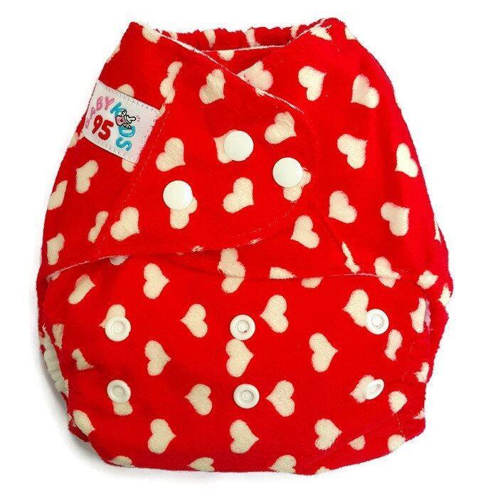 BABYKIDS95 กางเกงผ้าอ้อมเด็ก กันน้ำ รุ่นดีลักส์-ผ้าขนมิ๊งค์ พร้อมแผ่นซับใหญ่ ไซส์เด็ก 3-16กก. สีแดงลายหัวใจ