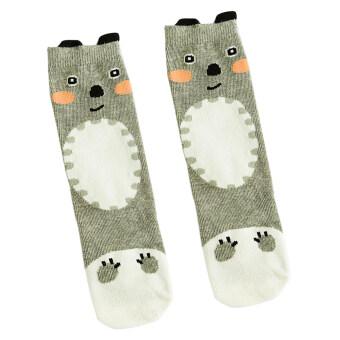 BolehDeals Baby Kids Girls Animal High Socks Knee Tights Hosiery Stockings Grey Bears - Intl
