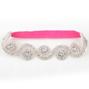 Crystal Crown Baby Kids Hair Band Princess Headwear Diamond Bridal Soft Prom Fabric Rose Red