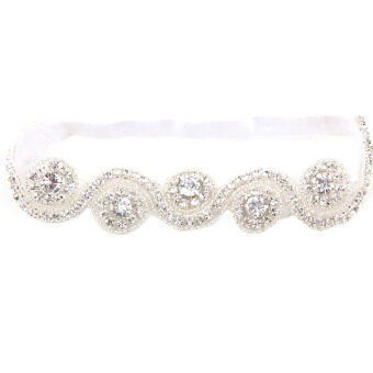 Crystal Crown Baby Kids Hair Band Princess Headwear Diamond Bridal Soft Prom Fabric White