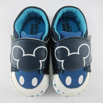 Disney Mickey Mouse รองเท้าผ้าใบ เด็กชาย ลาย ดิสนียื มิคกี้ เมาส์ สีกรม