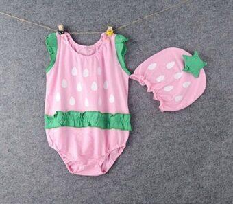 ELIBELLA เสื้อเด็ก ชุดเด็กเล็ก แรกเกิด ถึง 1 ปี รุ่น ผลไม้ตัวจิ๋ว ลาย สตรอเบอรี่
