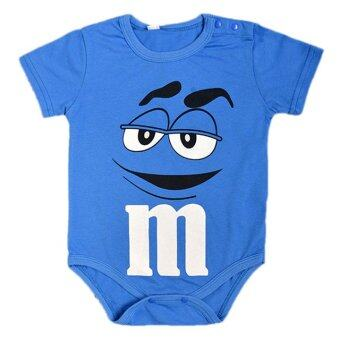 Europe and America Style Round Collar Boy Baby Jumpers with M&M Chocolate Patterns-blue - intl
