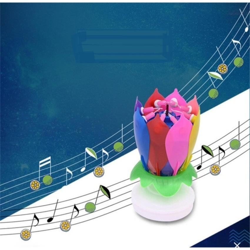 FC Magical Lotus Flower Musical Candle Happy Birthday Blossomromantic Cake Candle Party  ...