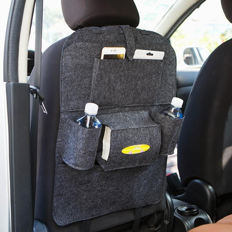 Felt Car Backseat Storage Bag Multi-pocket Organizer for Pen/Bottle/Tissue Box/Book Etc - Dark Grey - intl