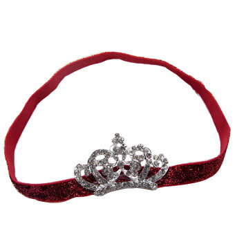 GDS Baby Kids Crystal Crown Hair Band Princess Headwear Diamond Bridalsoft Prom Fabric Red Band - intl