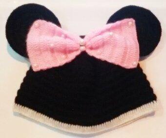 Handmade หมวกถักไหมพรม มิกกี้เม้าส์ (สีดำ/ชมพู)