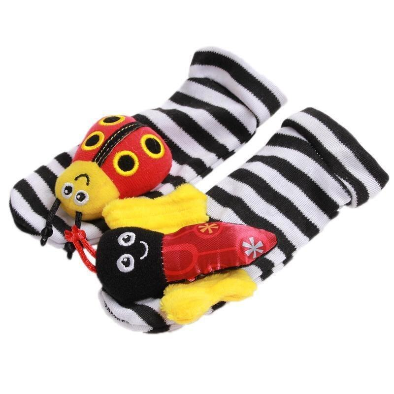 Hang-Qiao 1 Pair New Baby Infant Foot Socks Rattles Bees Ladybird ...