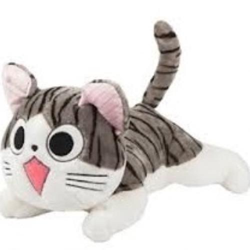 Happy Gifts Store ตุ๊กตา แมวจี้ ท่าหมอบ ตาเปิดSize S 12 นิ้ว ( สีเทา-ขาว ) ...
