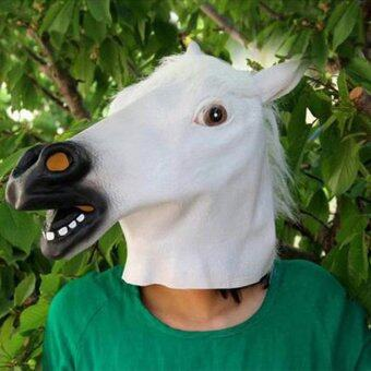 Horse Head Mask Animal Costume N Toys Party Halloween-White - intl
