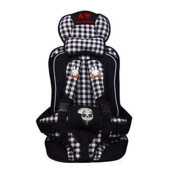 Madamphooh คาร์ซีทแบบพกพา (Child Car Seat) ที่นั่งในรถสำหรับเด็ก ลายสก็อต (สีดำ)