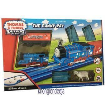 Khonglendee Track Game The Funny Day รถไฟโทมัส+ราง+ 1 โบกี้พ่วง มีไฟ มีเสียง (NO.A40-12) 16 ชิ้น