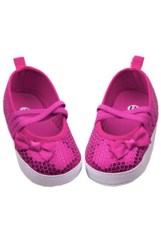 Aukey Baby Toddler Sequin Bowknot Sneaker Lace Antiskid (Rose red)