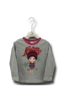Nolita เสื้อยืดเด็กผู้หญิงแขนยาวปักรูปเด็กผู้หญิงหน้าอก - Gray