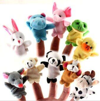 10ชิ้นเสื้อผ้าตุ๊กตาหุ่นมือครอบครัวศึกษาเด็กเล่นจับสัตว์-