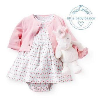 Carter's - ชุดเดรสเด็กแขนสั้นสีครีมมีลาย-พร้อมเสื้อคลุมสีชมพูเข้าชุดน่ารักมาก