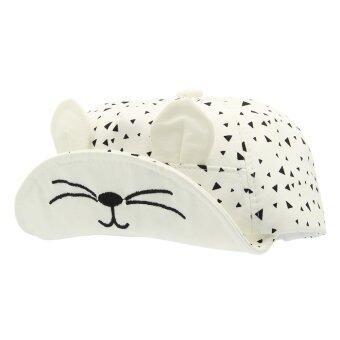 EOZY ใหม่เด็กสาวน่ารักแฟชั่นเด็กหูแมวถักหมวกผ้าหมวกเบสบอลอ้วนใสตุ่นปากเป็ด (ขาว)