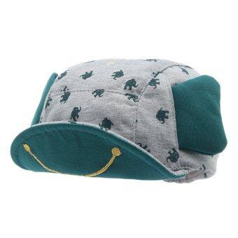 EOZY ใหม่เด็กน่ารักแฟชั่นเด็กน่ารัก ๆ ใบหูช้างรูปแบบปีกหมวกเบสบอลผ้าหมวกอ้วนใสตุ่นปากเป็ด (สีเทา)