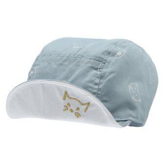 EOZY ใหม่แมวเด็กน่ารักแฟชั่นรูปแบบปีกหมวกเบสบอลผ้านุ่มตุ่นปากเป็ดกัปตันอ้วนใส (สีน้ำเงิน)