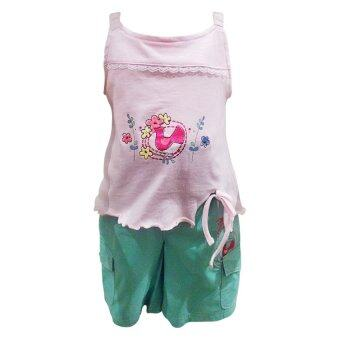 Newborn girl's 2 pcs set - Pink/Green