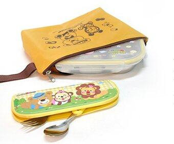 Parklon เซ็ตถาดอาหารเด็กพร้อมกระเป๋าพกพา Hello Bear Food Tray Set