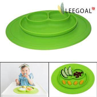 leegoal Baby Feeding One-Piece Mini Happy Face Plate (Green) - intl