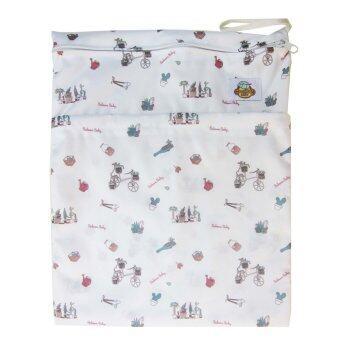 Baboon baby กระเป๋ากันน้ำเก็บกลิ่น 2 ช่องซิป สำหรับพกพากางเกงผ้าอ้อมและแผ่นซับ Eco bum - White