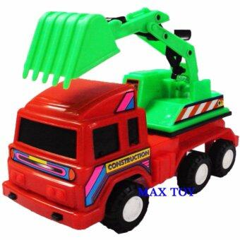 MAX TOY ของเล่น รถเด็กเล่น โมเดลรถตักดิน 6ล้อ 8721A-R(สีแดง)