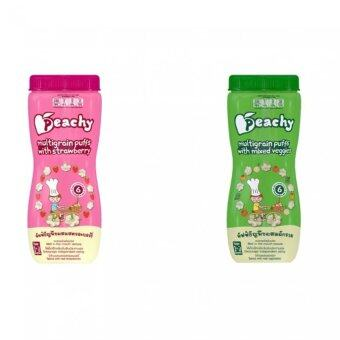 Peachy ขนมเด็ก พัพฟ์ธัญพืชรสสตรอเบอร์รี่ (6 กระปุก) + พัพฟ์ธัญพืชรสผักรวม (6 กระปุก)