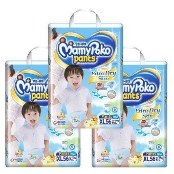 ขายยกลัง! Mamy Poko กางเกงผ้าอ้อม แพ็ค 3 รวม 168 ชิ้น รุ่น Extra Dry Skin ไซส์ XL (สำหรับเด็กชาย) (image 1)