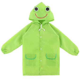 Children Kids Cartoon Animal Pattern Rain Coat Waterproof Raincoat Green Frog