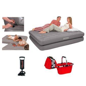 Intex ที่นอนเป่าลม2IN1แยกเตียงได้เตียงคู่ (ฟรีที่สูบลมและตะกร้าผ้าพับได้)
