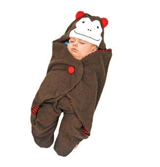 Kunkidshop ผ้าห่อตัวเด็กแฟนซี ถุงนอน ลายลิง สีน้ำตาล