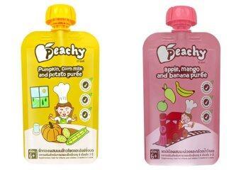 Peachy อาหารเสริมเด็ก ฟักทอง-น้ำนมข้าวโพด (14 ถุง) + แอปเปิ้ล-มะม่วง-กล้วย ( 14 ถุง)